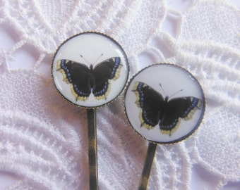 Butterfly Blue And Yellow  Hair Clips Bobby Pins.