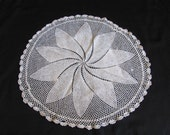 "Antique Ivory Crocheted Round Doily 20"" Inches"
