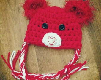 Red Baby teddy bear hat, baby, toddler, child sizes, photography prop, baby gift baby shower newborn prop, christmas gift
