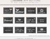 INSTANT DOWNLOAD Facebook Timeline chalk board Tab Images - App buttons - social icons