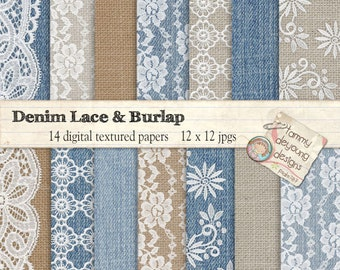 Burlap and Lace Digital Papers *Denim, Lace and Burlap* for shabby chic weddings rustic blue jean lace patterns in brown, blue and white