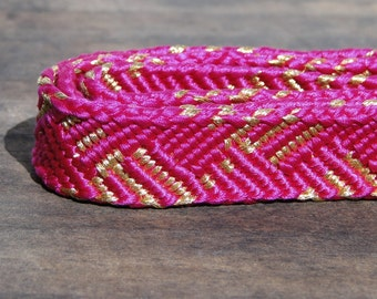 Obijime. Japanese Cord for Tying Obi. Woven Silk Tie Belt. Kawaii Bright Pink (Ref: 944)