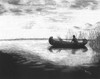 Canoe Silhouette - Note Card Package