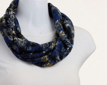 Blue Black Taupe Scarf Soft Sweater Knit Infinity Scarf ~ K082-S5