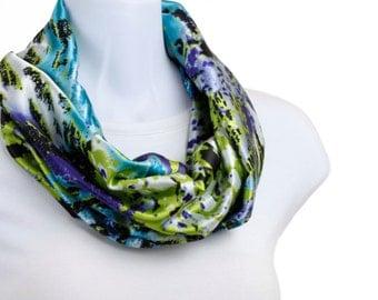 Short Infinity abstract Animal Print Scarf  Bright Lime Green, Purple, Aqua ~ SK151-S5