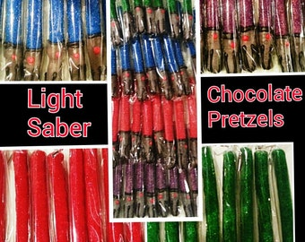 Star Wars party favors Lightsabers chocolate pretzels 12 star wars party favors** please read shop policies before ordering