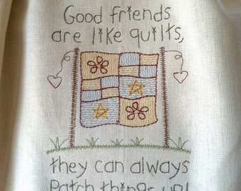 Primitve Friendship and Quilts homespun towel