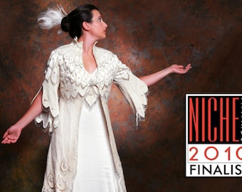 SPECIAL SALE White Peacock Coat NICHE Awards Finalist Fabulous Couture Silk Pearl Beaded Wedding Coat By MaryGwyneth