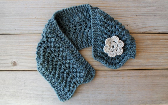 Hand knit soft blue scarf / cottage chic scarflette /  rustic country inspired / crocheted flower brooch / muted cerulean blue / neck cozy