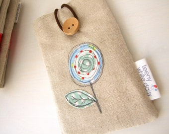 Embroidered 'lollipop ' flower and linen smartphone/ iphone / gadget case