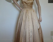 "VTG. 50s 60s Mad Men Silk Satin Cocktail Gown Dress Bolera Jacket 175"" Sweep Gold Thread Emb. 30 Covered Buttons  Metal Zipper Size XXS"