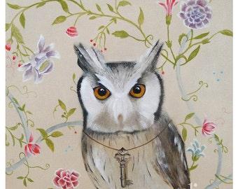 Childrens Wall Art - Animal Wall Art - Owl Bird in Flower Garden - KIDS room decor Art Print  Children's Room