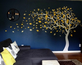 """Tree Wall Decals, Baby Room Decal, Vinyl Wall Decal, Wall Sticker-Blowing in the Wind (83"""" H)- Baby Nursery Decor, Wall Decor PT-0181-2"""