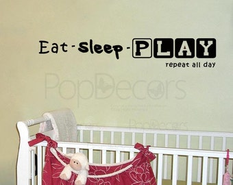 Eat Sleep PLAY - Words and Letters Decal