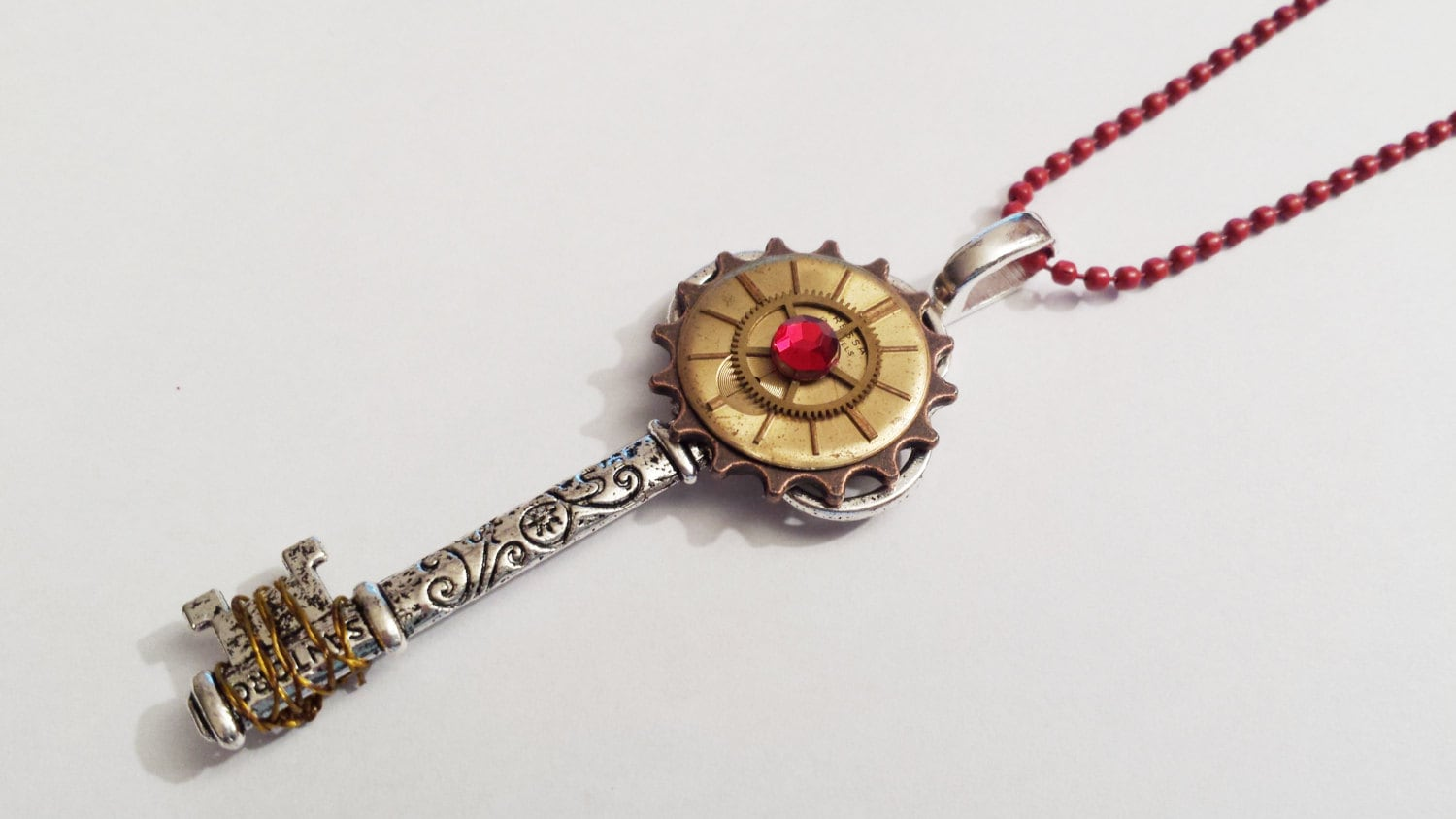 Original steampunk Key Recycled Clock dial face red crystal charm Cool Emo Kawaii chain necklace Israel Hand made