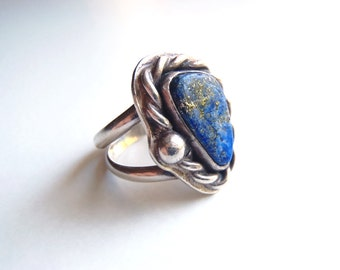 Vintage Handcrafted Lapis Lazuli Ring Natural Blue Lapis and Sterling Silver Ring Unique 1970s Size 7 to Size 7-1/4