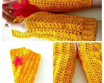 Crochet Fingerless Gloves in Saffron Orange, Lacy Crochet Gloves, Lacy Shell Gloves, Lacy Gloves, Crochet Armwarmers, Lacy Armwarmers