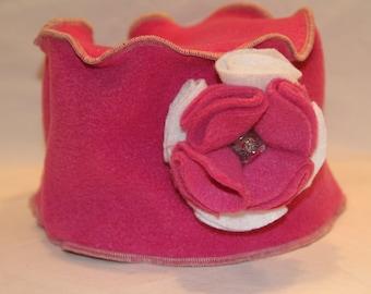 Pink Fleece Pillbox Hat - Adult