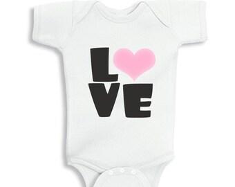 Love Pink Heart Valentine's bodysuit or T-Shirt