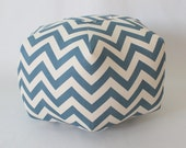 "18"" Ottoman Pouf Floor Pillow Denim Natural Chevron Zig Zag"