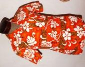 Vintage 1960s Hawaiian Shirt. Mens Shirt. Loop Collar. Pocket. Unworn. Medium
