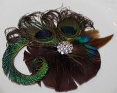 Chocolate Brown Natural Sword Blue Peacock Feathers Flower like Style Bridal Boutique Hair Clip Fascinator Photo Prop