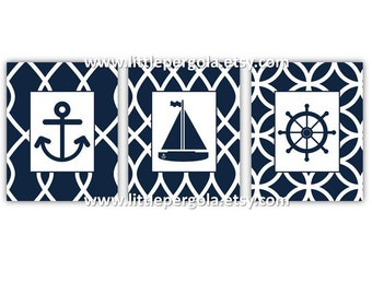 Nautical Art for Kids // Nautical Nursery Art // Nautical Nursrt Decor // Navy Blue abd White Decor // Set of Three 8x10 PRINTS ONLY