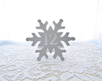 SNOWFLAKE Table Numbers, Winter Wedding, Winter Wedding Table Numbers, Snowflake, Table Numbers, Table Cards, Snowflake Wedding, Frozen