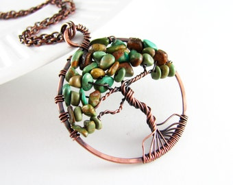 Copper Wire Wrap Jewelry Tree Of Life Necklace Natural Turquoise Semiprecious Stone Copper Necklace