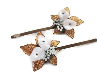 White Wedding Hairpins Bridal Hair Flowers Accessories Vintage Jeweled Hairpiece Bobby Pin