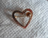 Vintage Heart Shaped Gold Tone Topaz Colored Rhinestone Small Pin/Brooch Etched Dainty Feminine Small 1960s