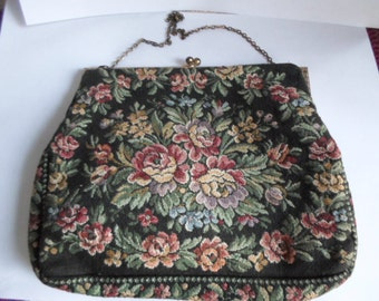 Vintage 1930s to 1940s Tapestry Made in France Purse Chain Floral Colors Flowers Roses Fabric Kiss Lock