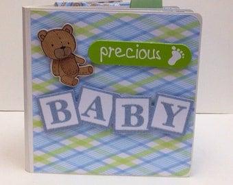 Baby Boy scrapbook premade Chipboard Board Book  Photo Album - 5x5