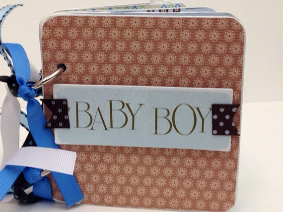 Baby Boy scrapbook premade pages chipboard coaster mini album- blue baby scrapbook 4x4