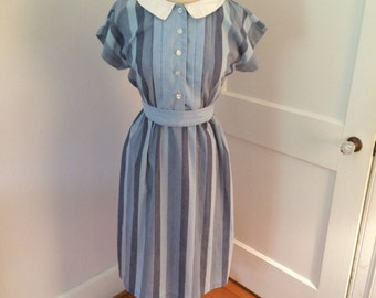 Peter pan collar Blue Striped House Dress