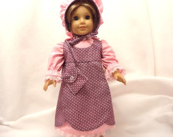Five-piece outfit for 18 inch dolls.  Dress, Jumper, Pantaloons, Bonnet and Purse.