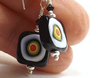 "Murano ""Mosaic"" Glass Bead Earrings, 1 inch (2.5cm) Drops, Black Square Italian Glass Beads with Colorful Bullseye Pattern, Mini Earrings"