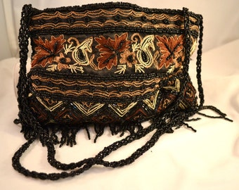 Vintage Boho Beaded Evening Shoulder Bag Black, Copper and Browns Evening Bag Formal Bag Womens Birthday Gift or Anniversary Gift for Her