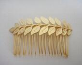 Matte Gold Leaf Hair Clip / Comb