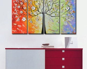 Abstract painting tree, Large Original tree, White Cherry Tree, large Abstract,Tree Painting, Textured Impasto, thick texture, huge tree
