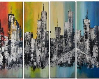 Blue Cityscape, Rainbow Painting, Downtown Painting Modern Oil Palette Knife, Abstract Painting, blue skyscrapers, Huge New York painting