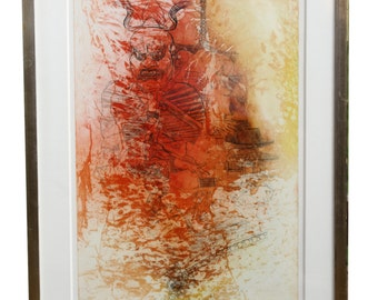 Mid Century Color Etching by David Silverberg titled Nara -- WHOA!!