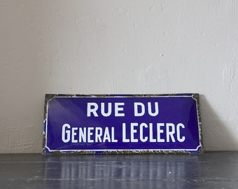 French Enamel Antique Street Sign Loft Living Rue Du General Leclerc World War 2