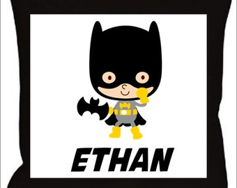 Custom Name Pillow-Batman Batgirl Choose Character and Name 14x14