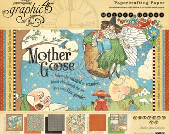 """Graphic 45 Mother Goose 8"""" x 8"""" Paper Pad RETIRED!"""