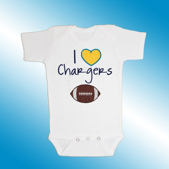 Baby Bodysuit Jersey Shirt - I Love Chargers Football Applique - Embroidered Short or Long Sleeved - Free Shipping