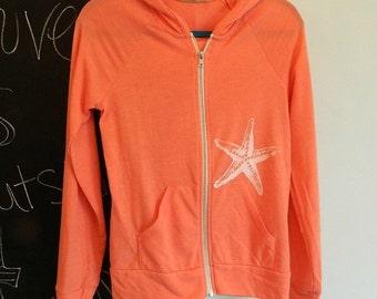 Zip up jacket, women's hoodie, outerwear, starfish hoodie