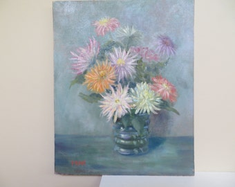 Vintage Oil Painting / Floral Bouquet in vase / 20 by 24 probably 1950s / signed Fran / Large