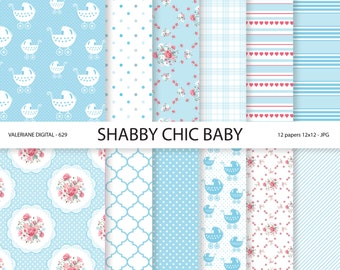 Baby Shabby Chic Digital paper pack in blue, Baby Digital Papers, Baby Boy, digital backgrounds, INSTANT DOWNLOAD Pack 629