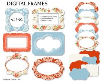 Shabby Chic Digital frames in coral and blue, digital frames, Cottage - INSTANT DOWNLOAD Pack 644